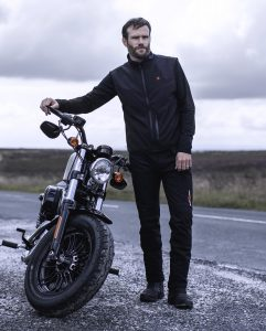 Photograph of motorcyclist showcasing Blaze Wear Moto Range.